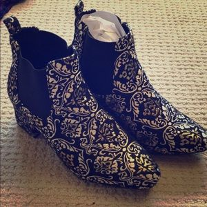 Black and Gold brocade Booties Size 9
